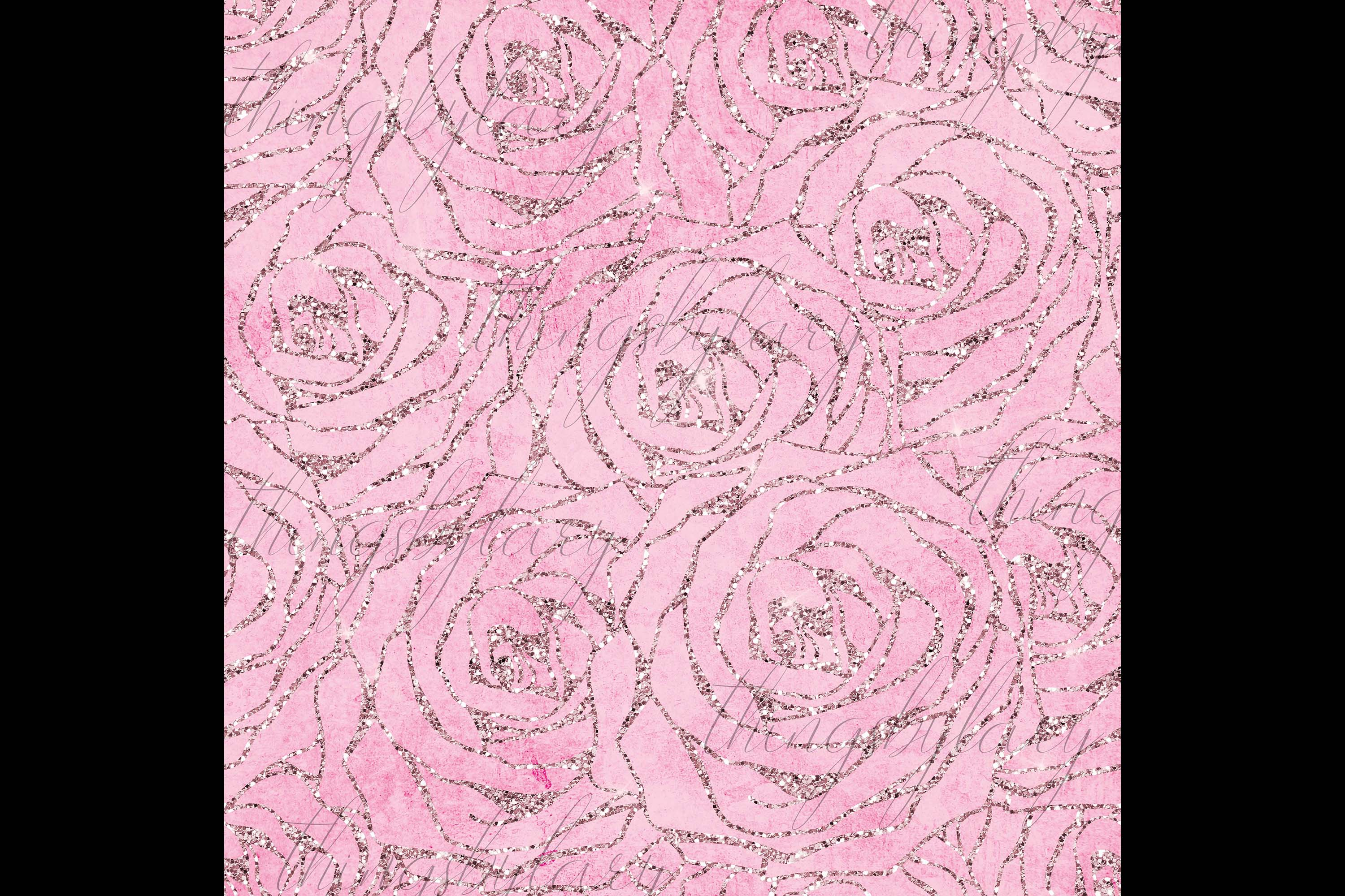16 Seamless Glitter Rose Net Overlay Digital Images PNG example image 6