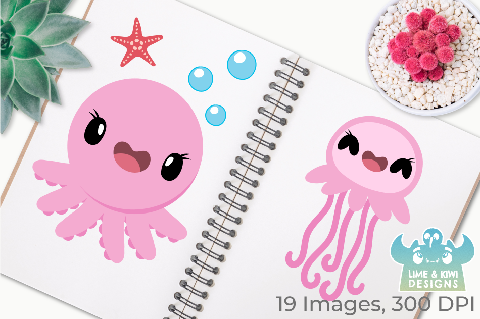 Octopus & Jellyfish 1 Clipart, Instant Download Vector Art example image 3