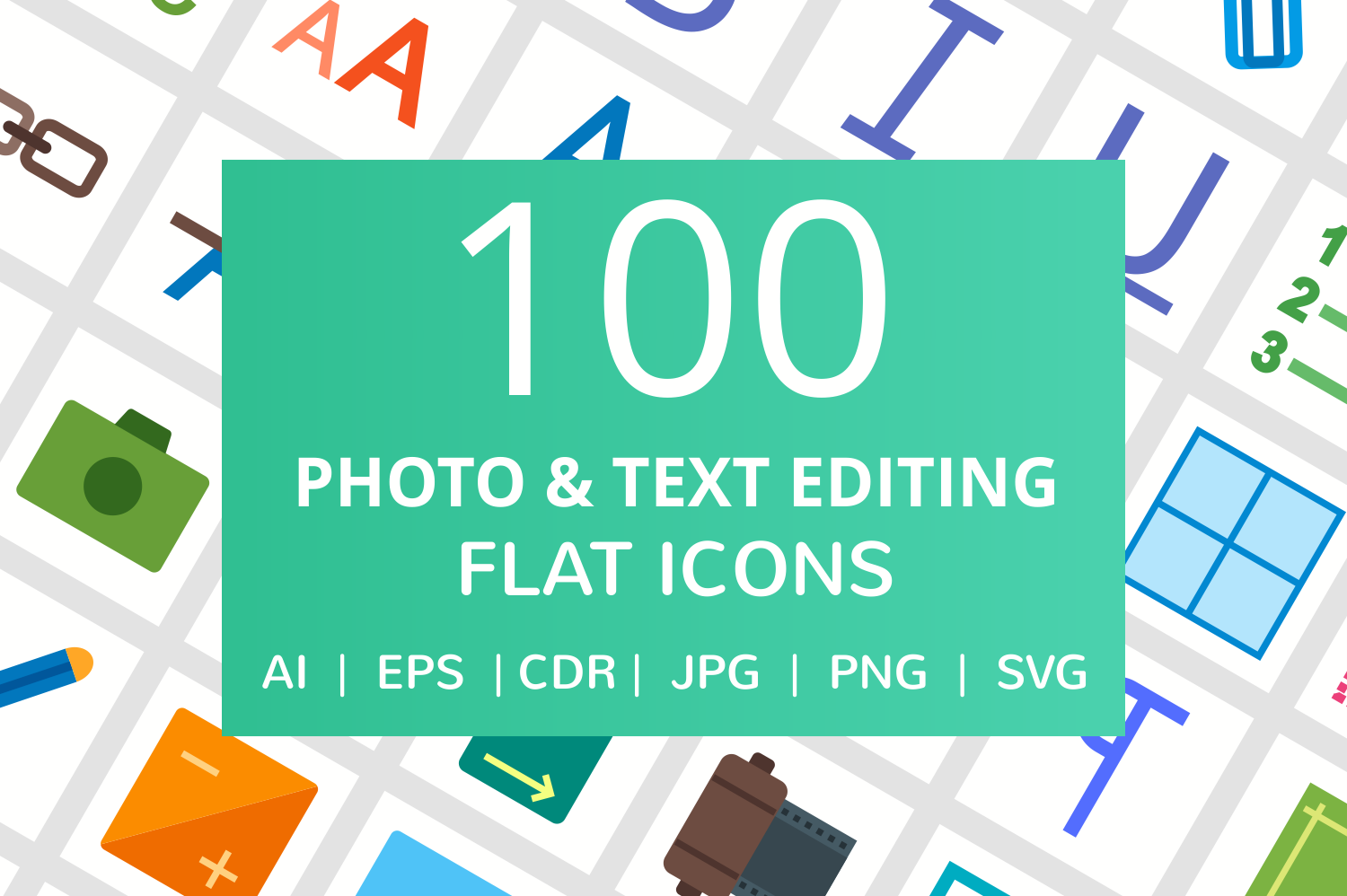 100 Photo & Text Editing Flat Icons example image 1