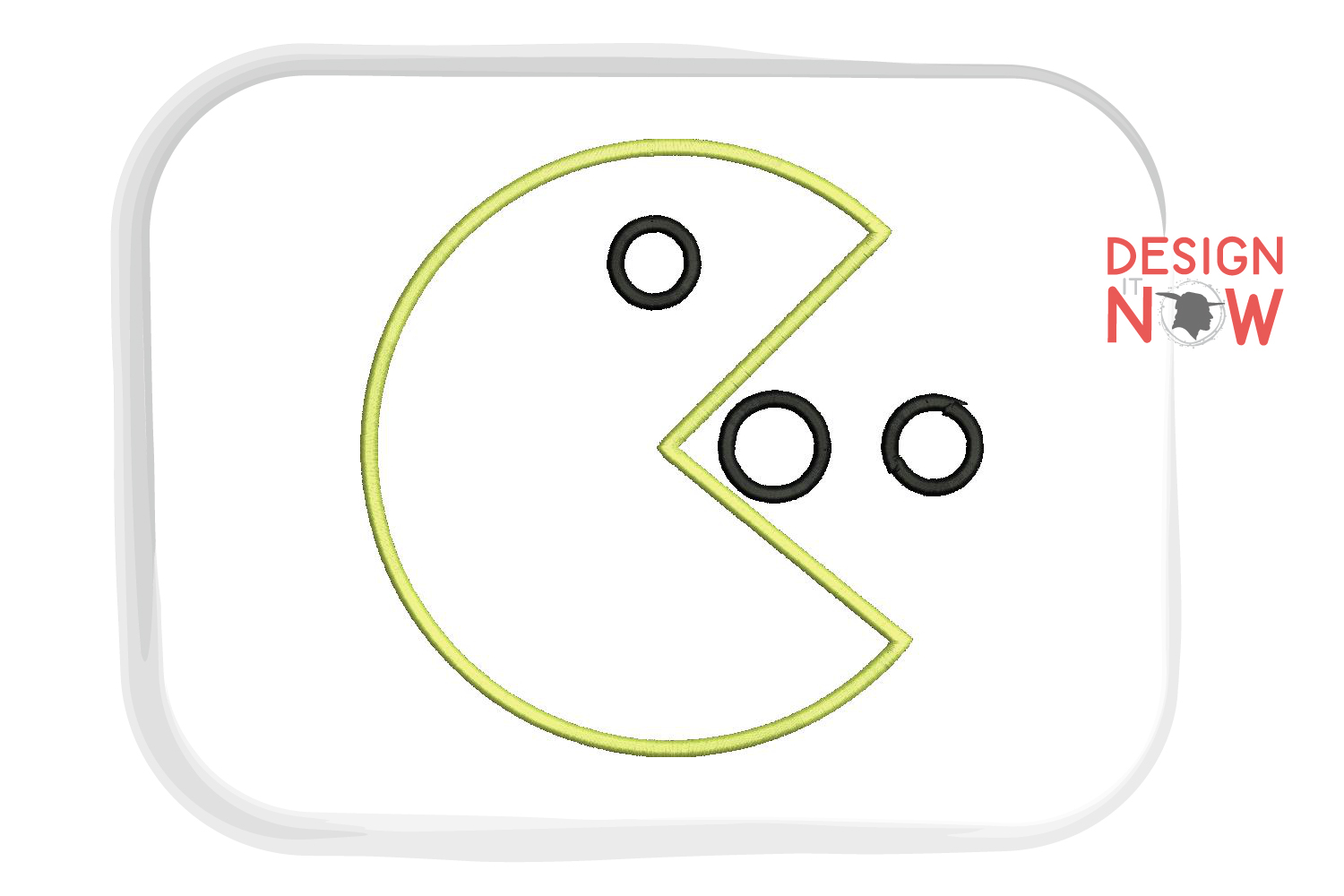 Packman Game Applique Design, Packman Embroidery Pattern example image 1