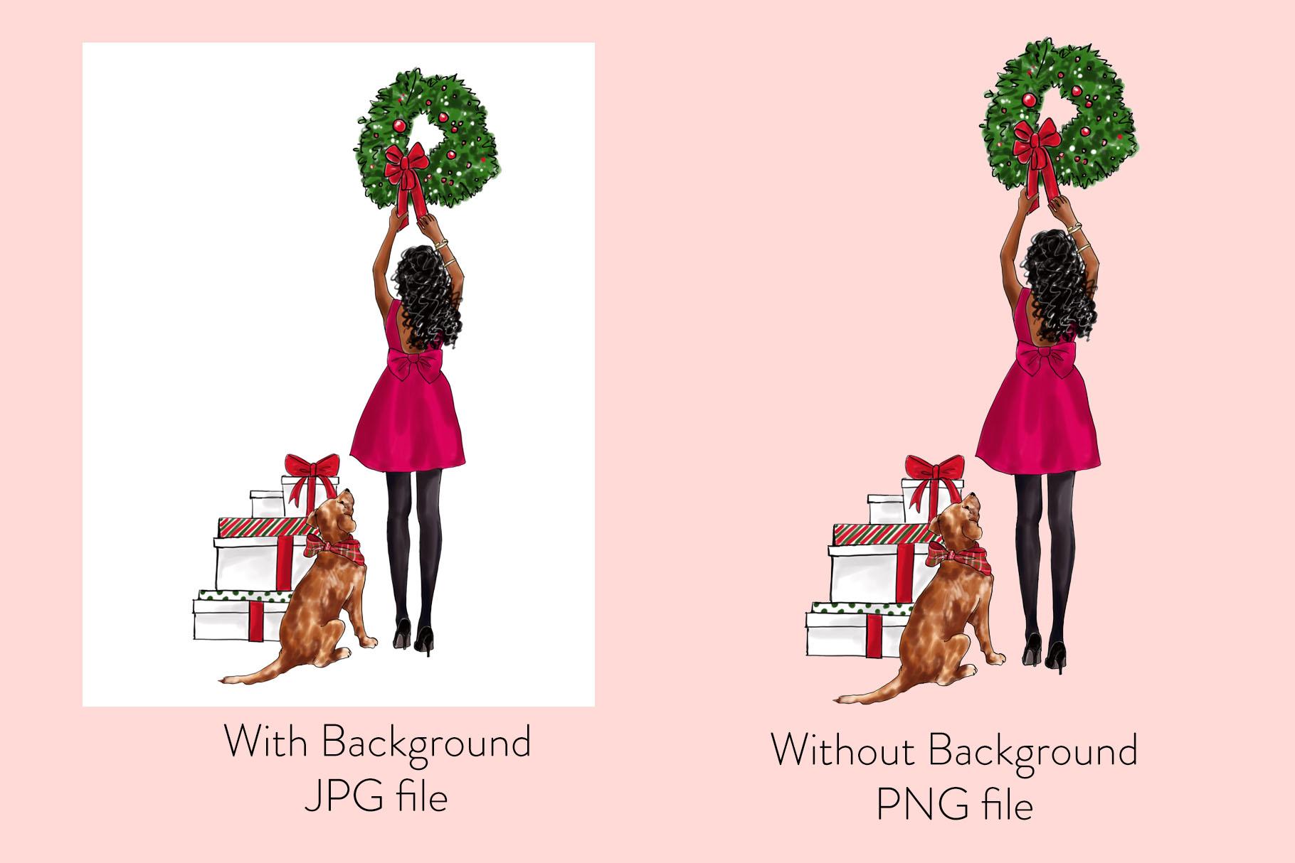 Fashion illustration - Christmas Girl 7 - Dark Skin example image 2