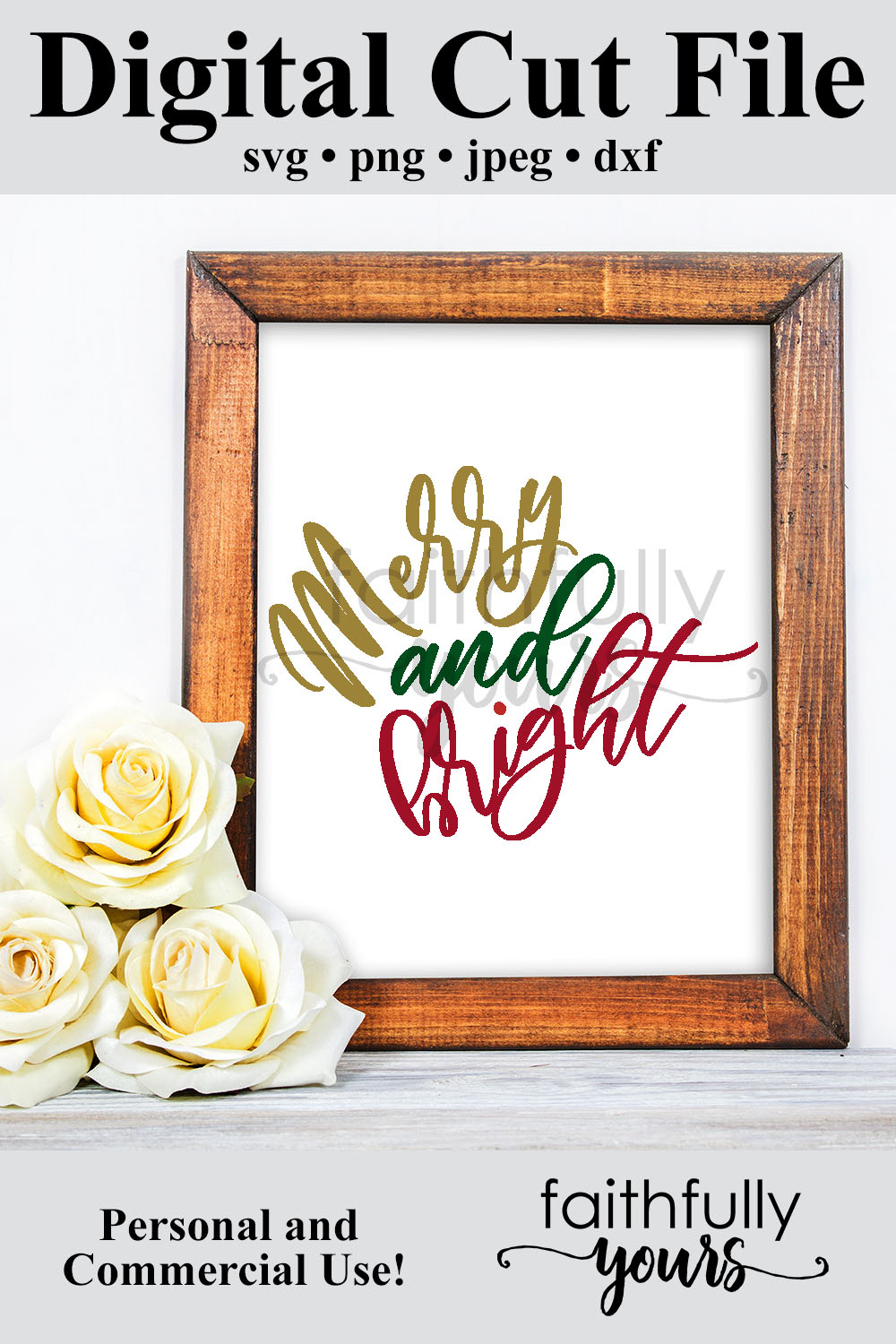 Merry and bright svg digital cut file Holiday Christmas example image 6