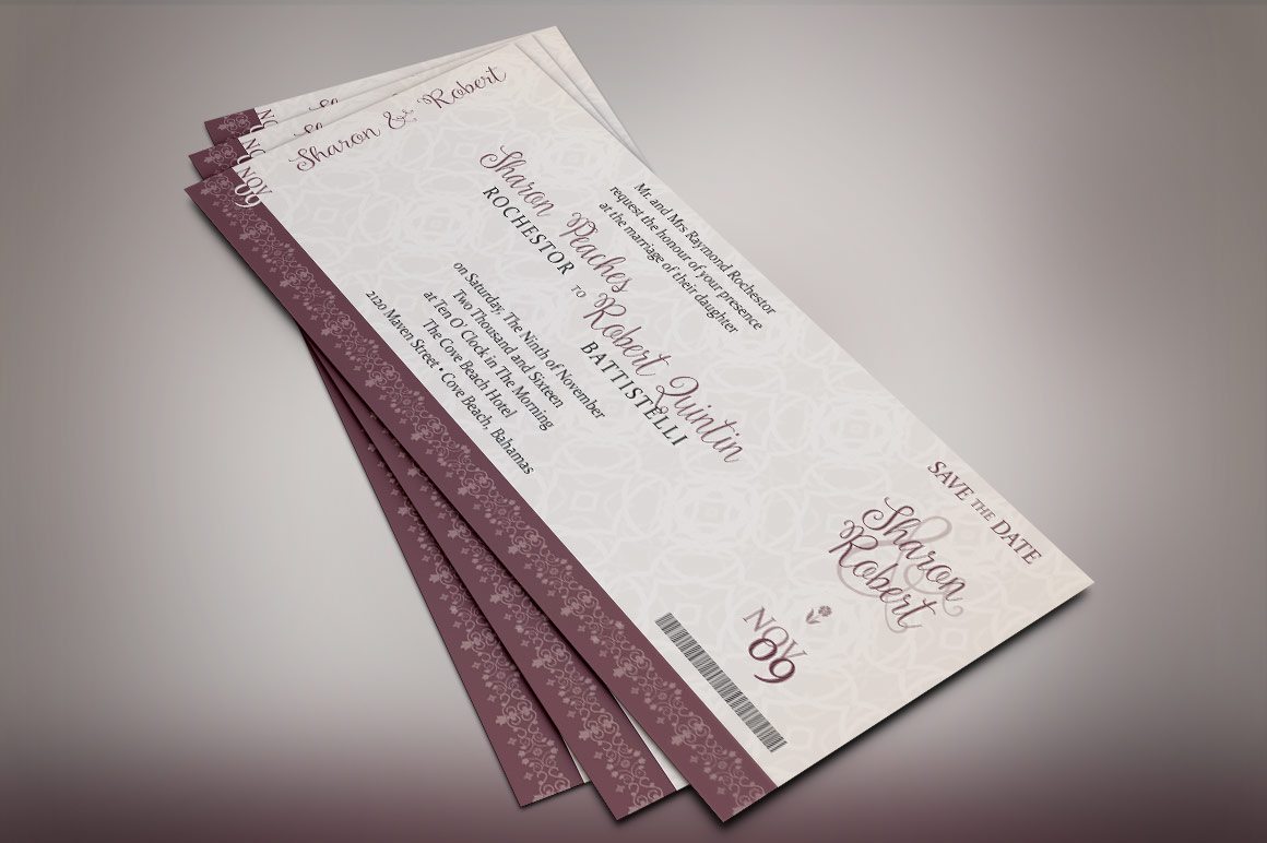 Vintage Boarding Pass Invitation Template example image 6