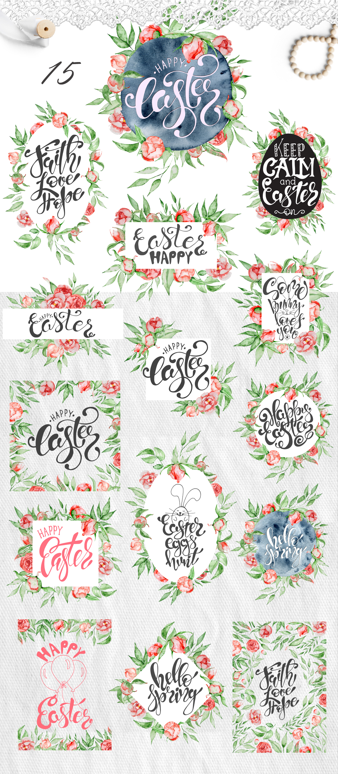 Easter quotes Floral watercolor lettering example image 2