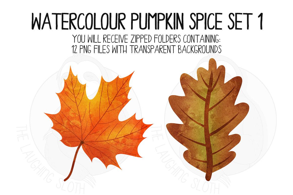 Watercolor Pumpkin Spice Clip Art Set 1 example image 4