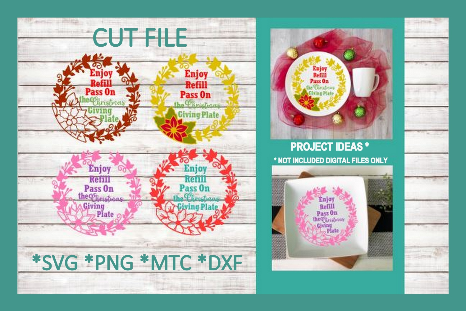 SVG Cut File Christmas Giving Plate BUNDLE Set 01 example image 1