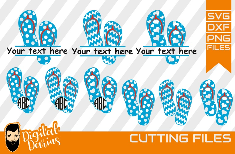9x Flip Flop SVG, Monogram, Beach Svg, vacation, Slippers example image 1