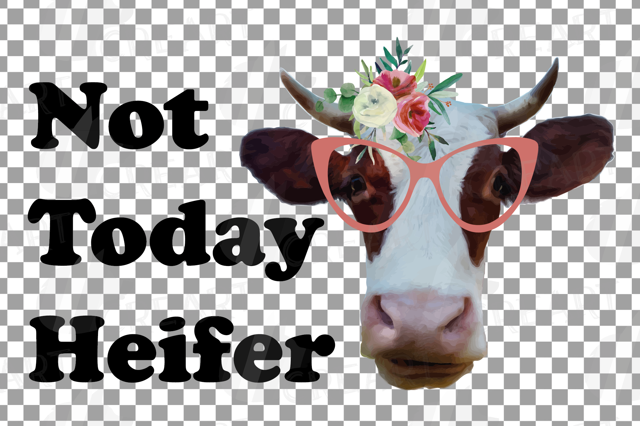 Cows with floral crown clip art. Not today heifer graphic example image 15