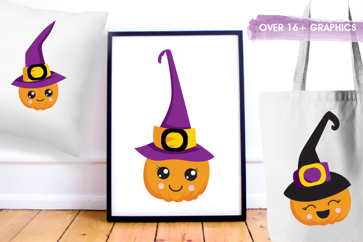 Witchy Halloween pumpkins graphics and illustrations example image 5
