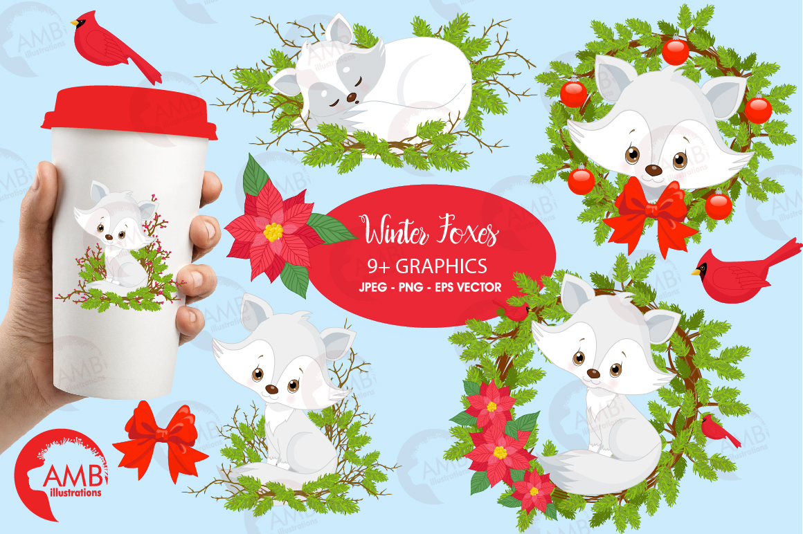 Winter Foxes cliparts, graphics, illustrations AMB-2298 example image 1
