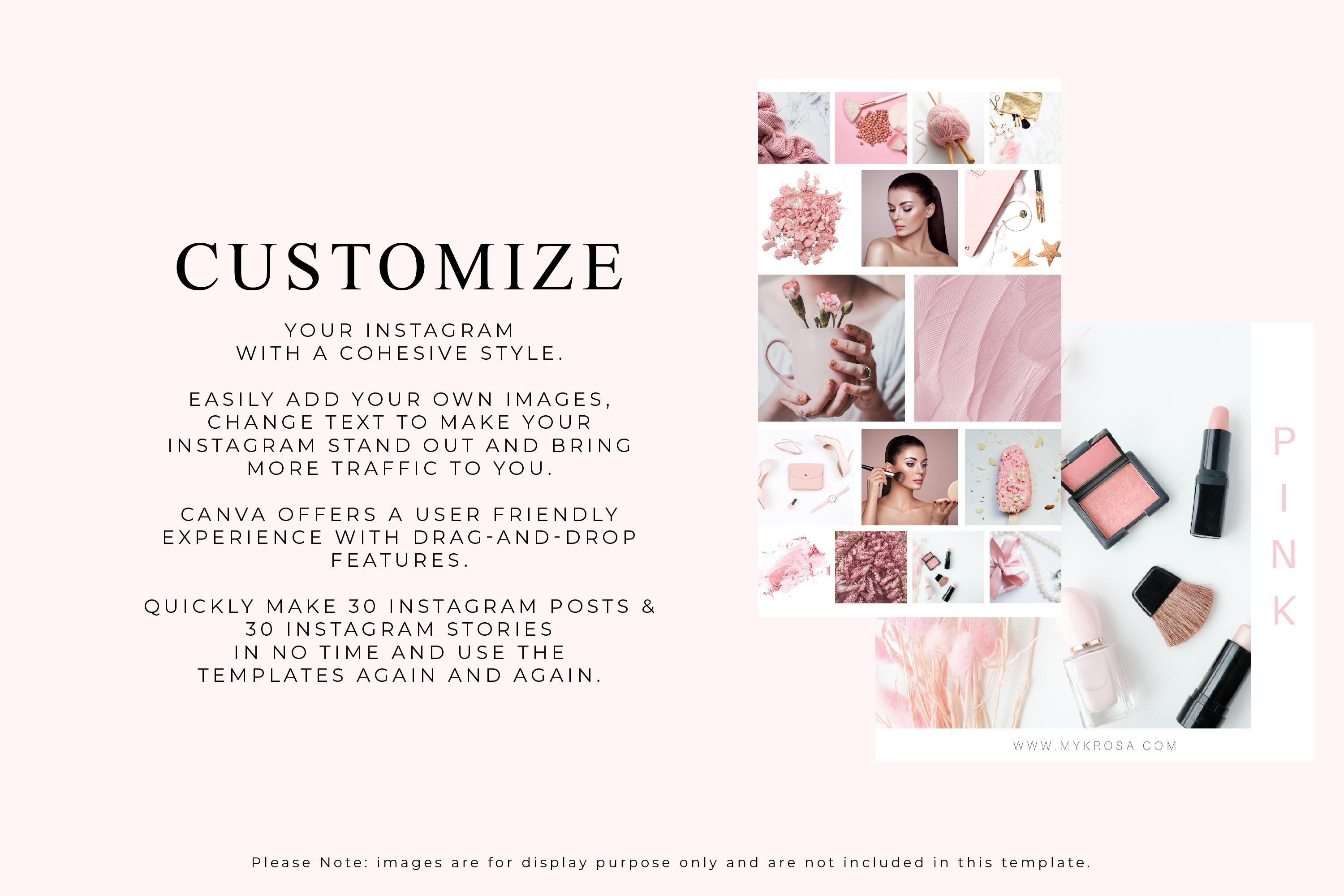 60 Instagram Post & Story Templates For Canva - Myk Rosa example image 3
