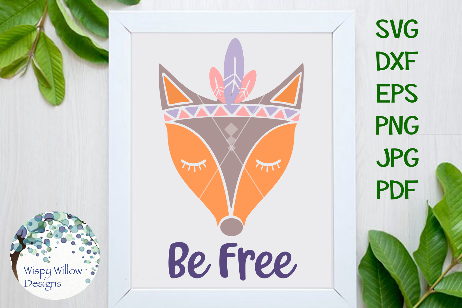 Be Free Boho Fox SVG example image 1