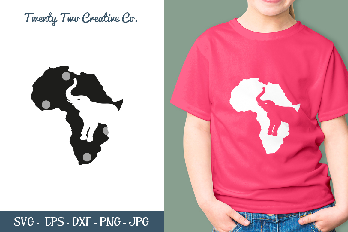 African Elephant Cut File - SVG, DXF, PNG, EPS, JPG example image 1