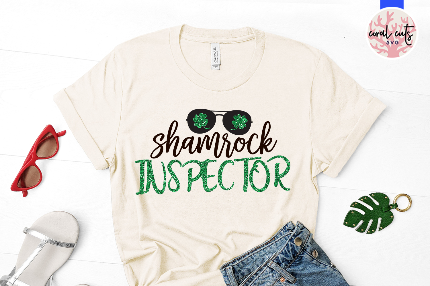 Shamrock inspector - St. Patrick's Day SVG EPS DXF PNG example image 2