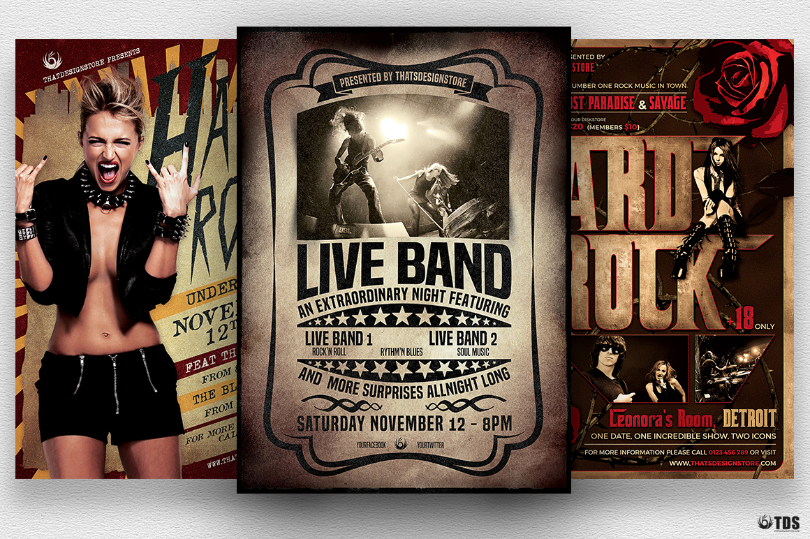 Live Band Flyer Bundle V1 example image 1