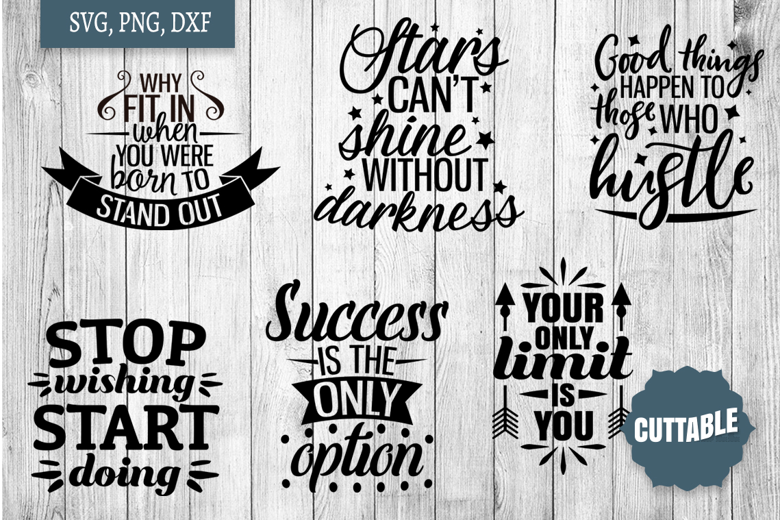Motivational SVG bundle, Inspirational quote cut file bundle example image 3