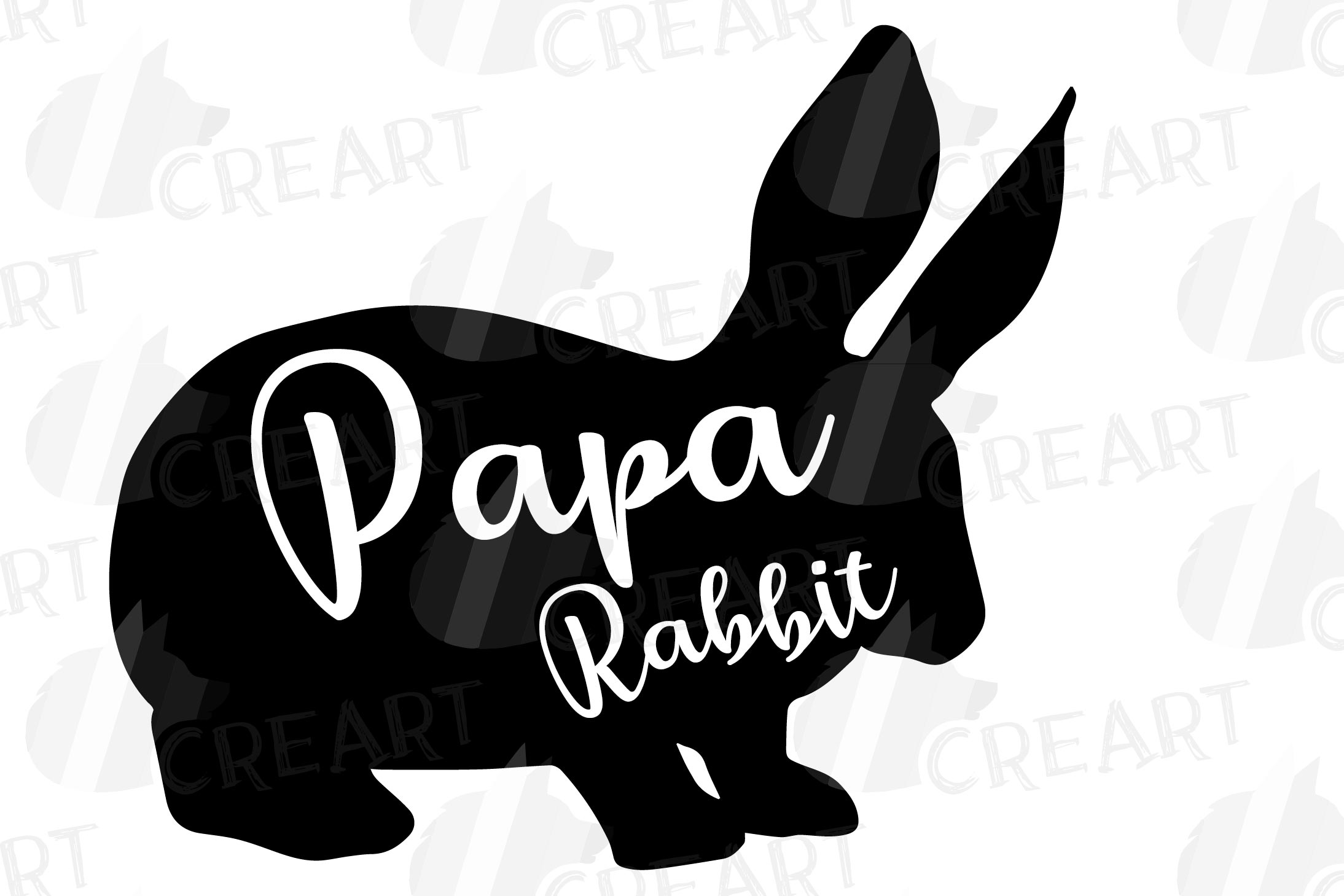 Rabbit family silhouettes, bunny silhouette svg cutting file example image 14