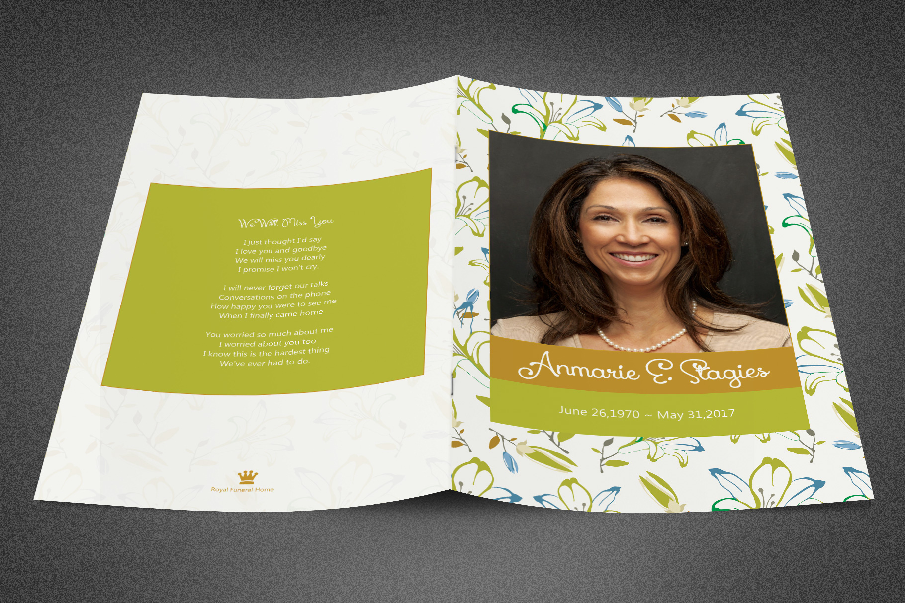 Miss You Funeral Program Template example image 2