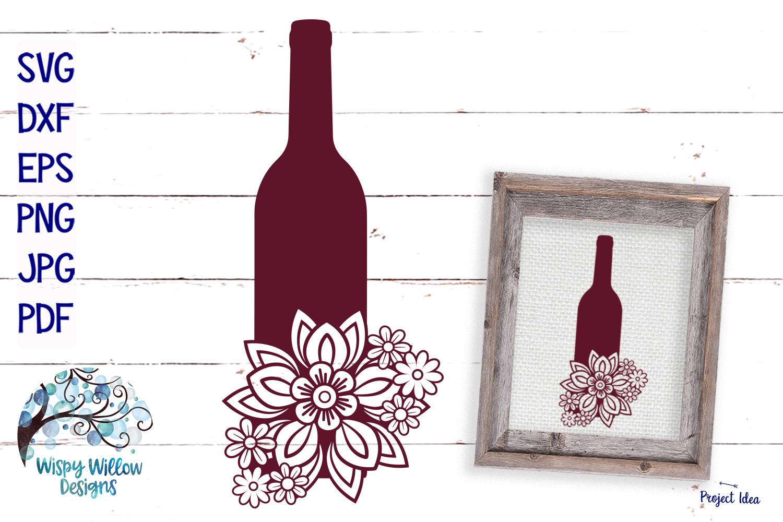 Floral Wine Bottle SVG   Wine SVG Cut File example image 1