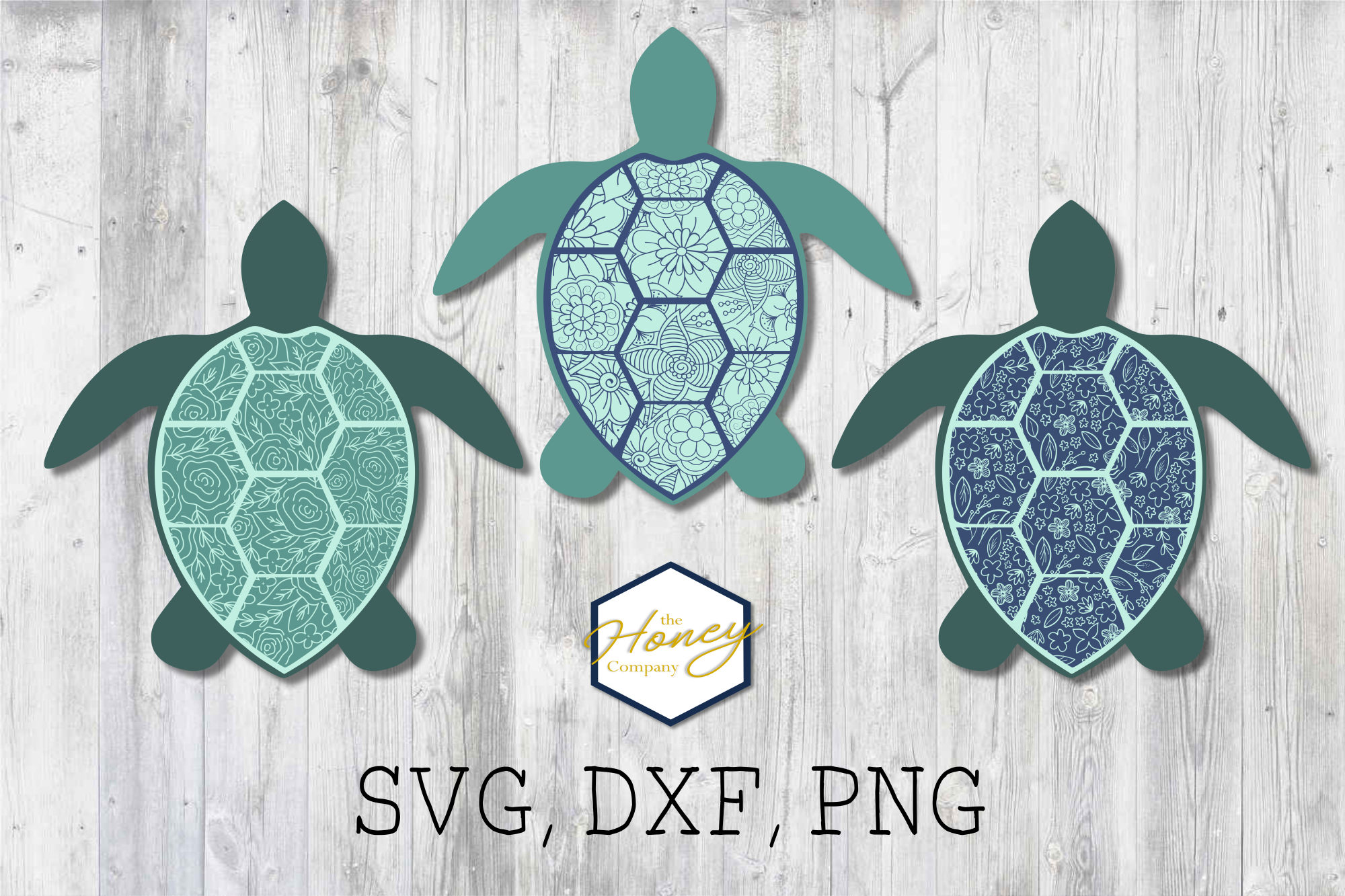 Sea Turtle Floral SVG PNG DXF Cutting File Clipart Beach example image 1