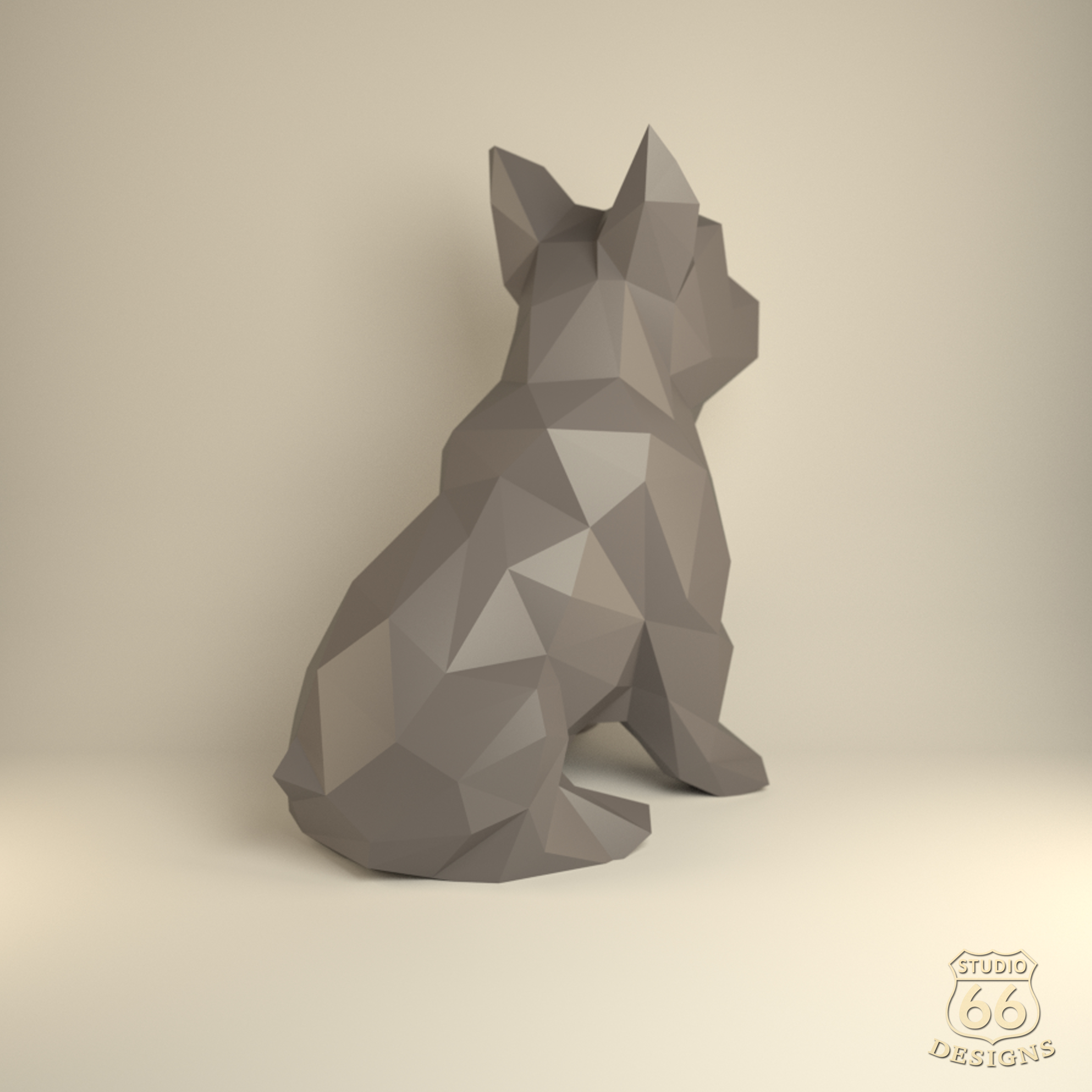 French Bulldog, Papercraft Bulldog, Paper Dog, Paper Animals, Papertoy, Home Decor, Frenchie, 3D papercraft model, lowpoly DIY, hobby idea example image 4