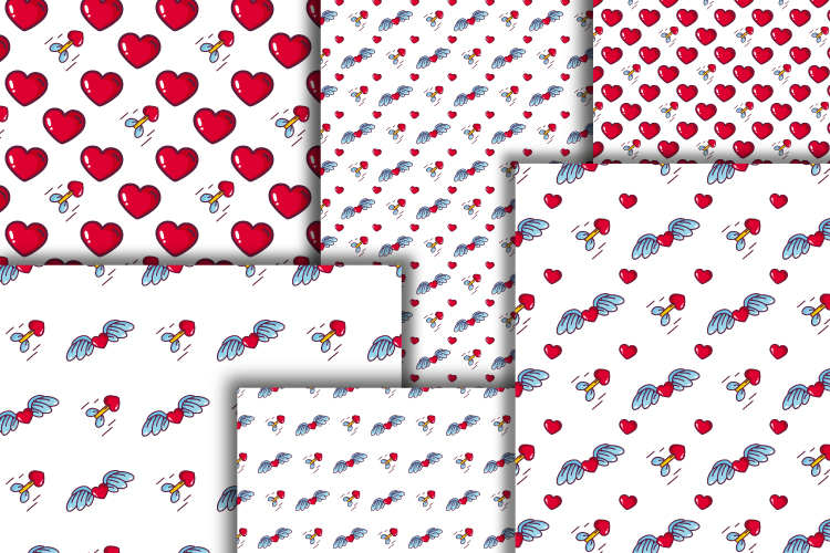 Hearts digital paper. Valentine's day seamless patterns example image 5