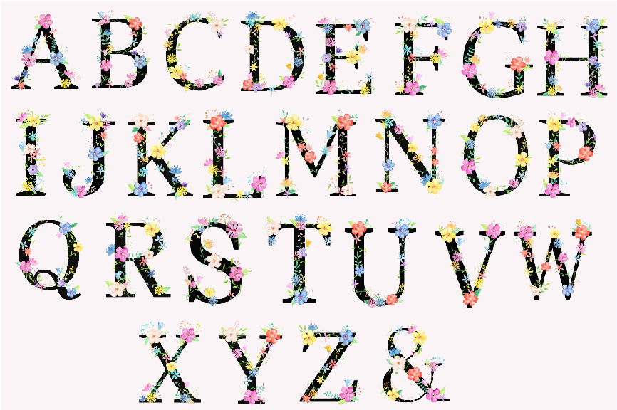 Watercolor floral alphabets with black background example image 3