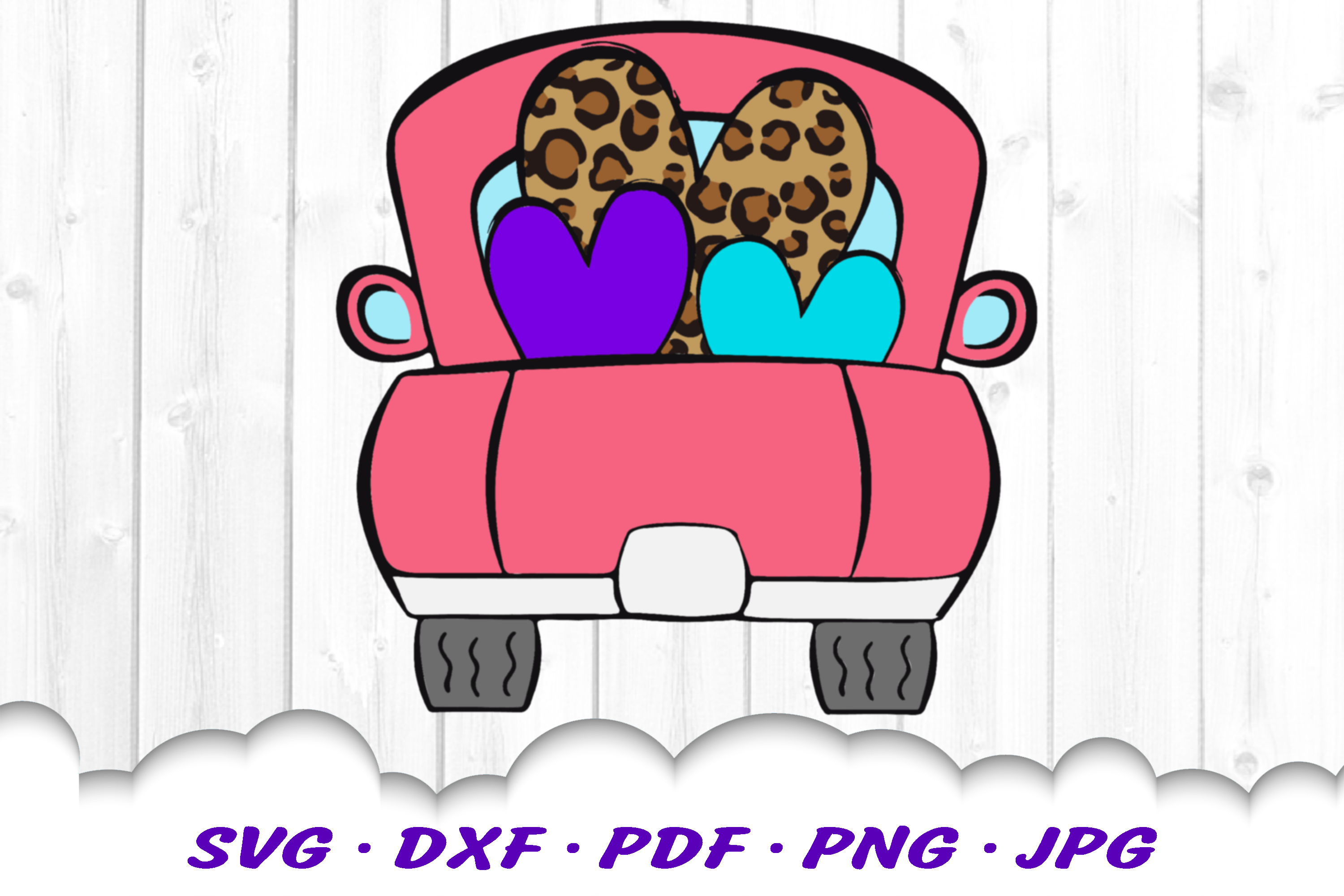 Valentines Truck Leopard Print Heart SVG DXF Cut Files example image 2