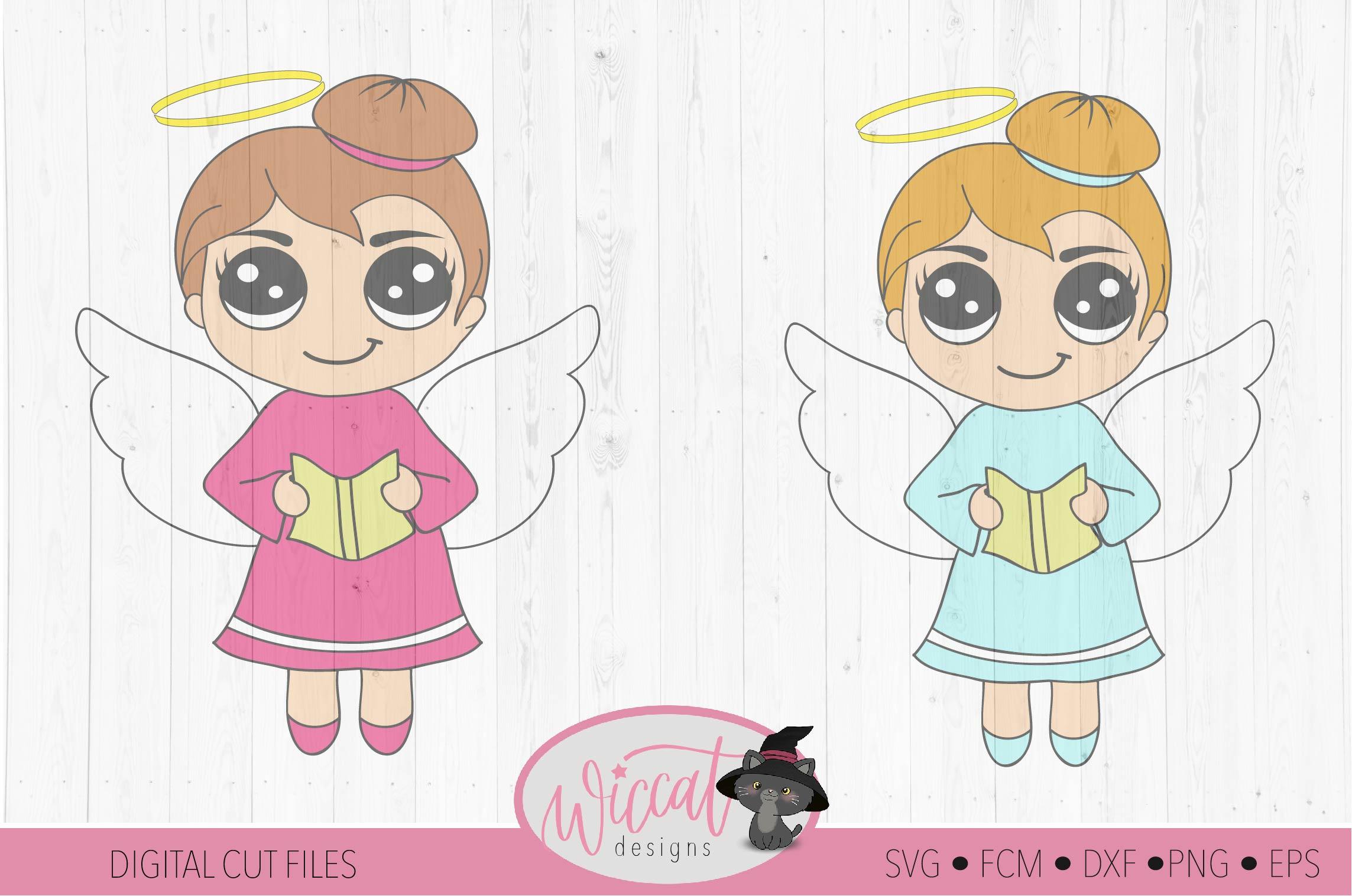 Singing Christmas angel, Kawaii angel, Cute angel girl, example image 2
