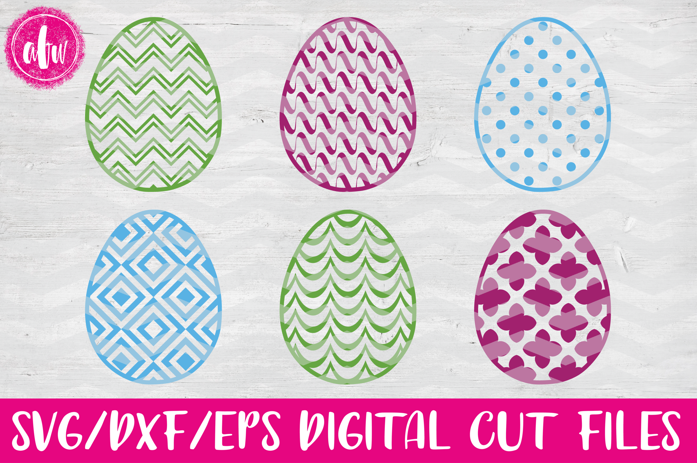 Pattern Easter Eggs Set - SVG, DXF, EPS Cut Files example image 1