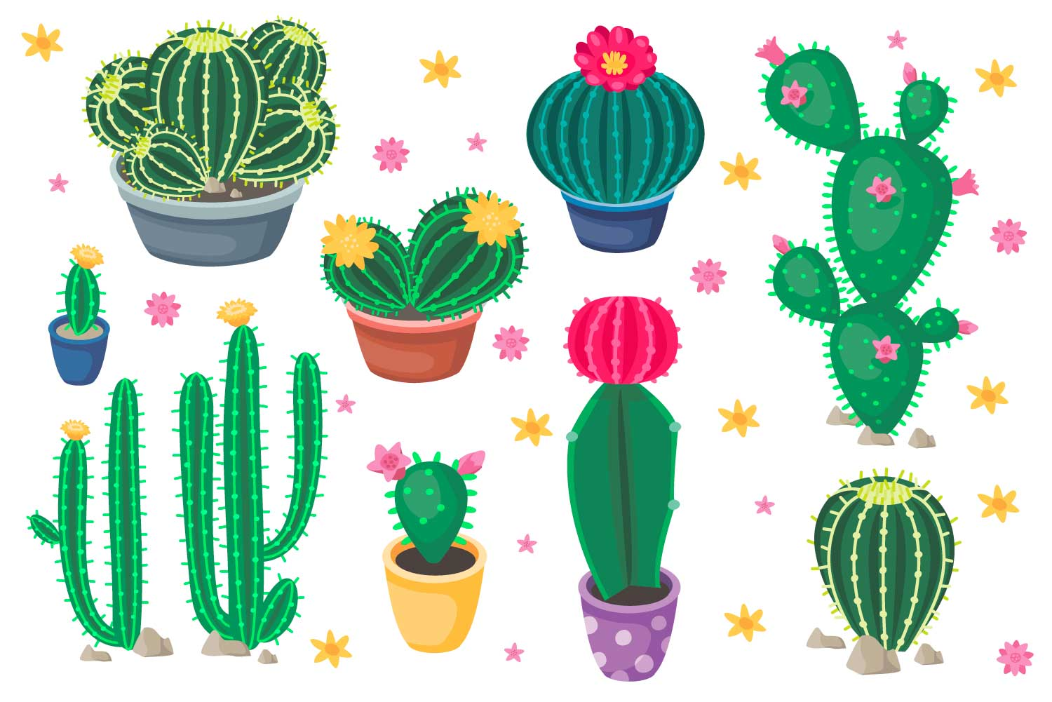 Vector collection of cartoon cute colorful cacti example image 2