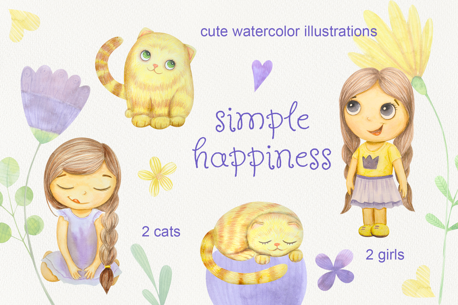Simple happines. Set of watercolor girls and cats example image 1