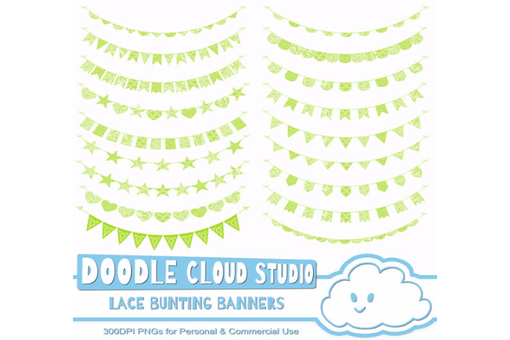 Green Lace Burlap Bunting Banners Cliparts, multiple lace texture flags, Transparent Background, Instant Download, Personal & Commercial Use example image 3