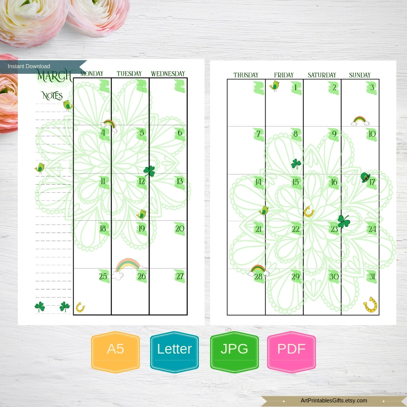Monthly Planner Printable Happy pages, Month Organizer, A5 example image 2