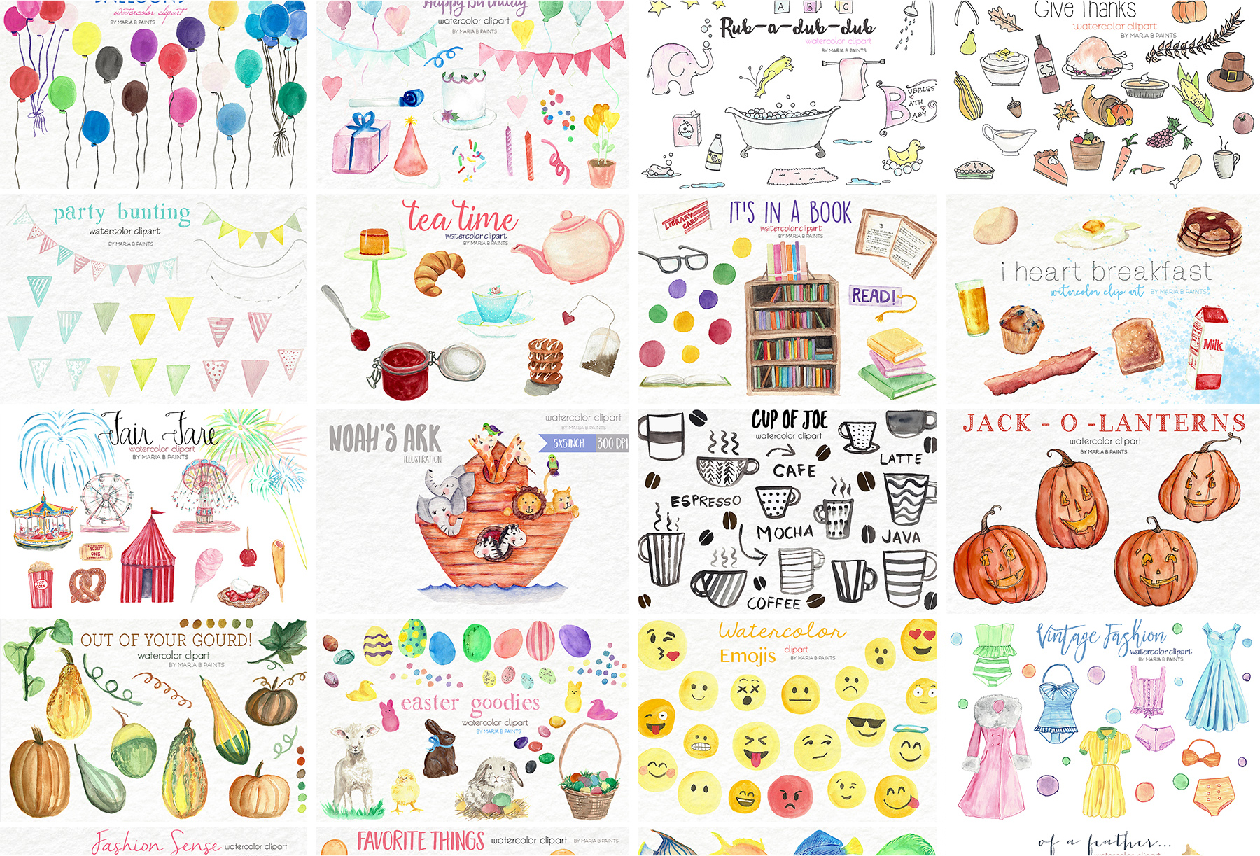 2,600 in 1 Watercolor Clip Art Bundle example image 18