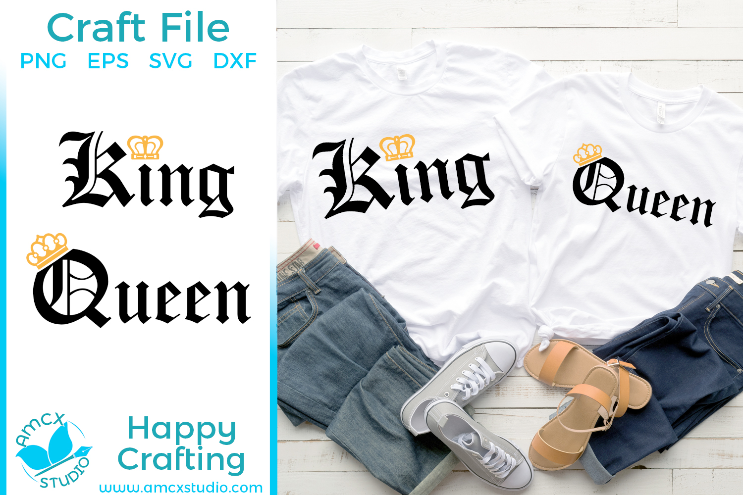 King and Queen - Couples Shirts SVG Craft file example image 1