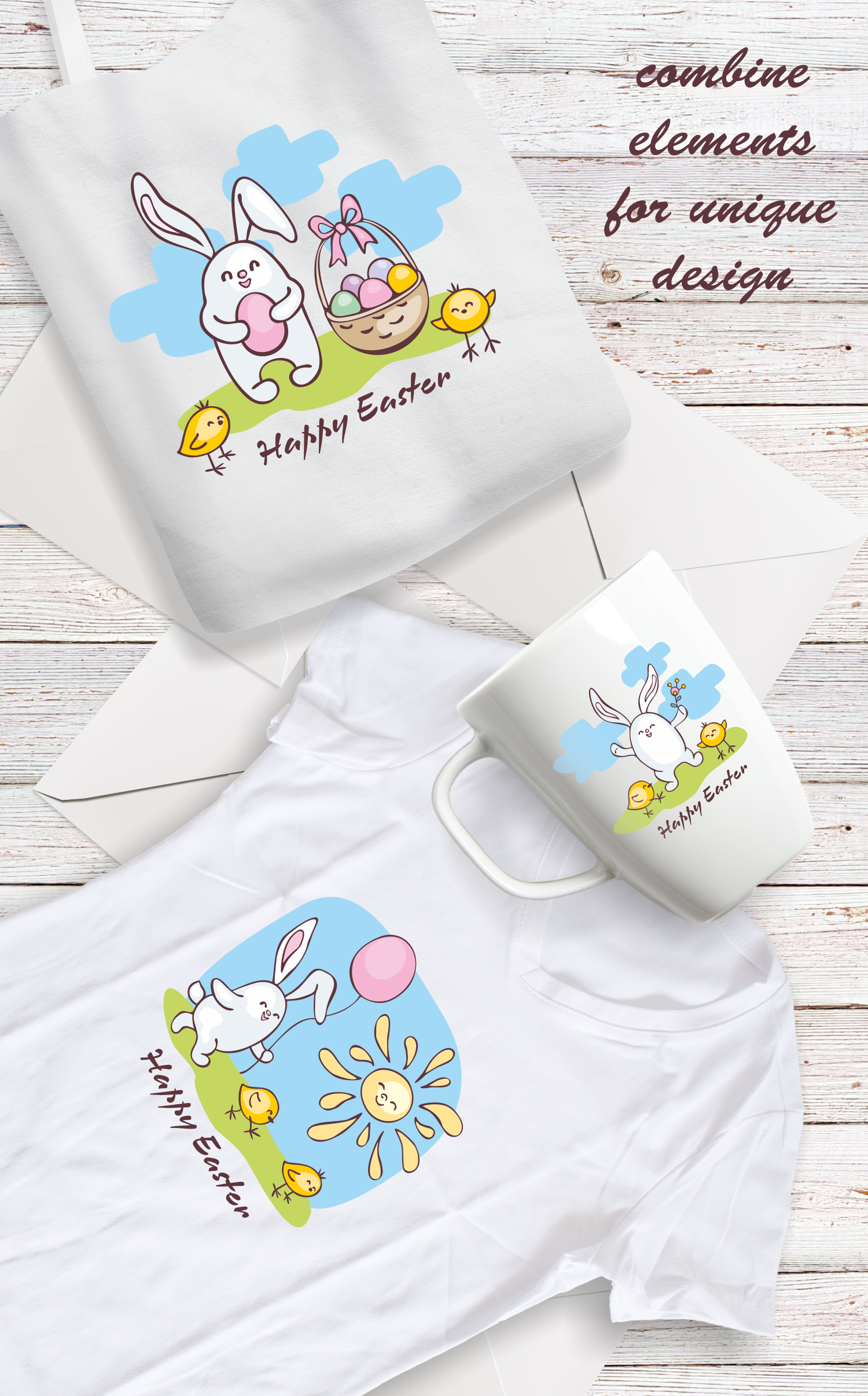 Easter doodles set.  Vector clip arts and seamless patterns. example image 5