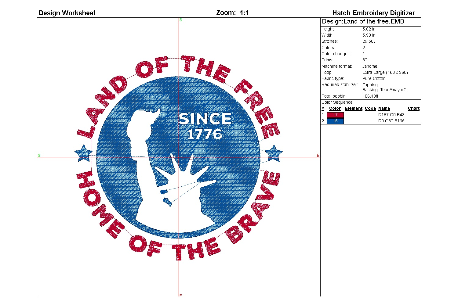 Land of the free| Independence day | Machine embroidery| example image 4