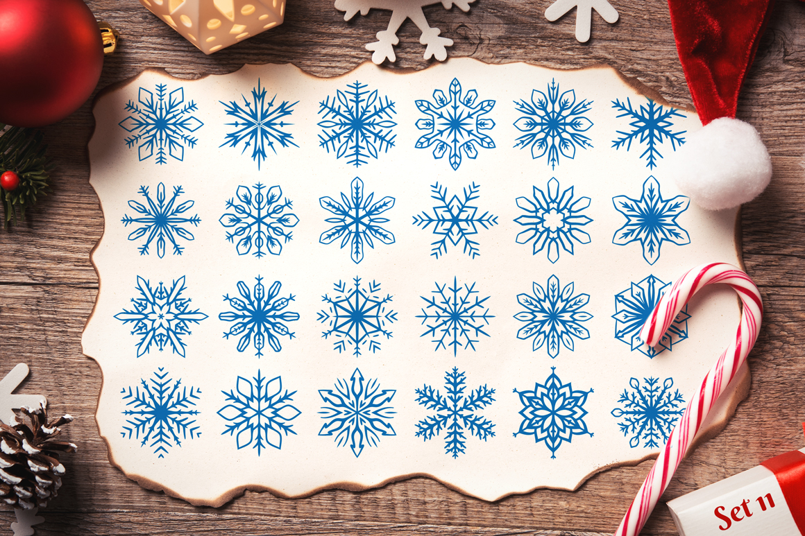 500 Snowflake Vector Ornaments example image 19