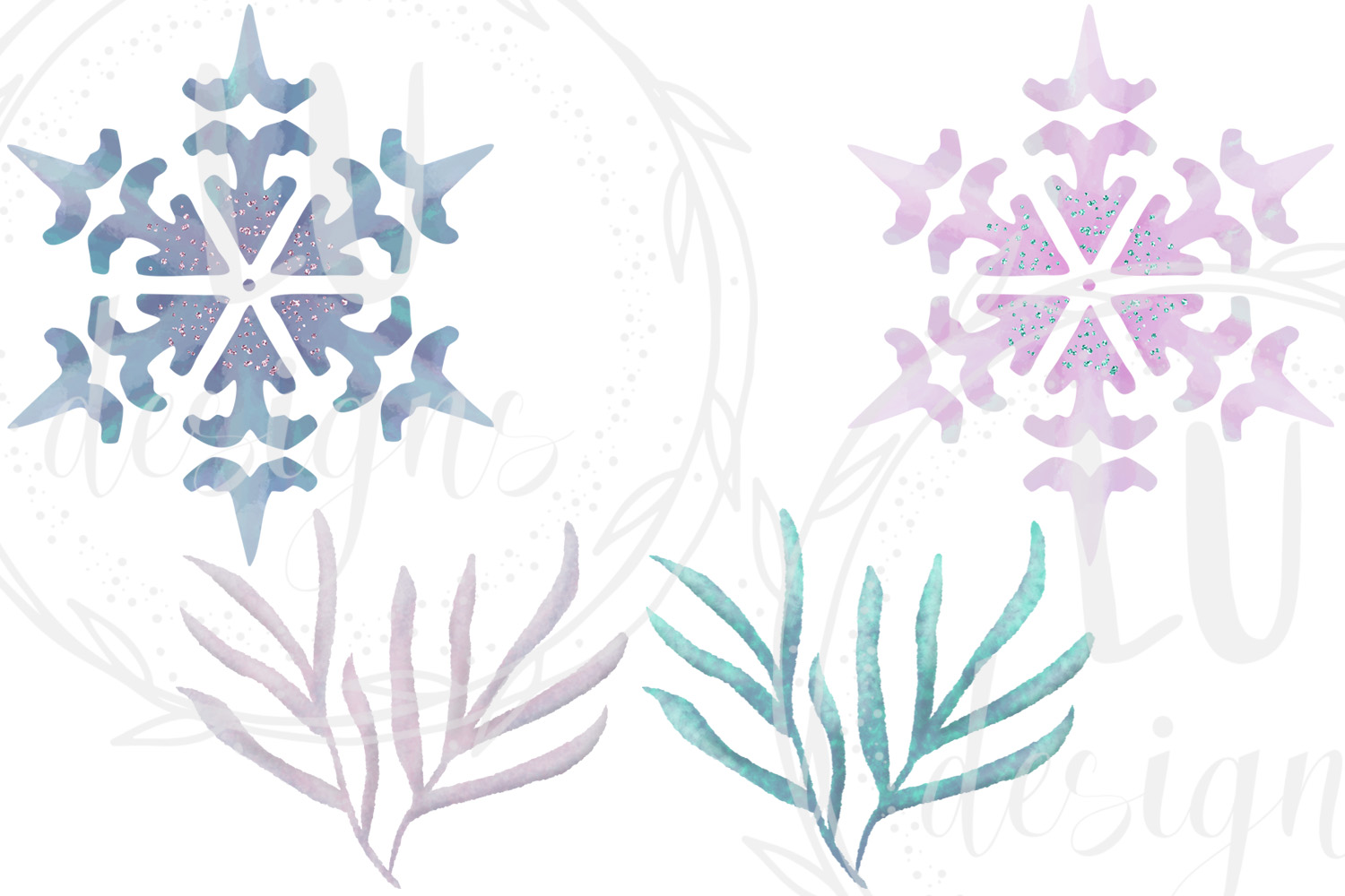 Winter Flowers Clipart, Watercolor Floral Winter Graphics example image 4
