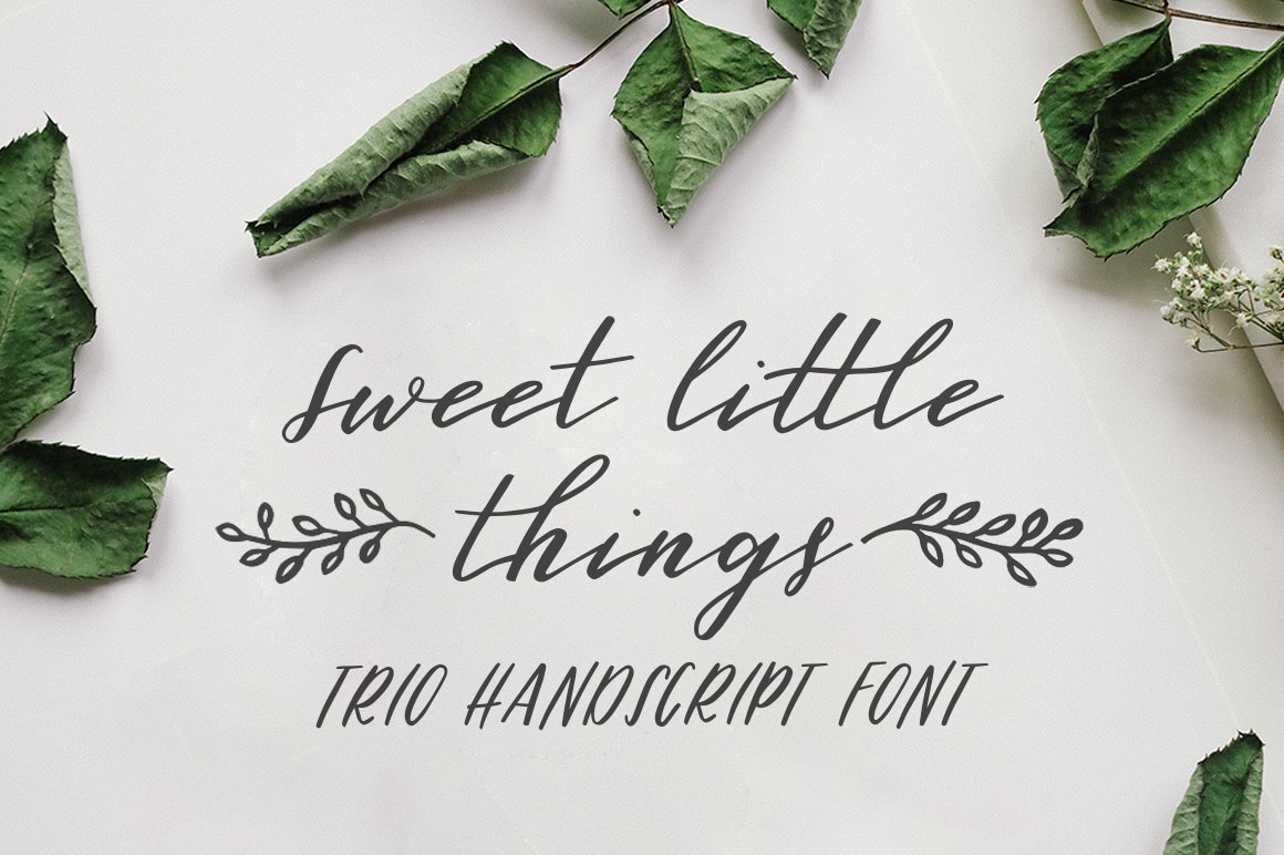 Sweet Little Things TRIO font - Script, Caps & Ornaments example image 1