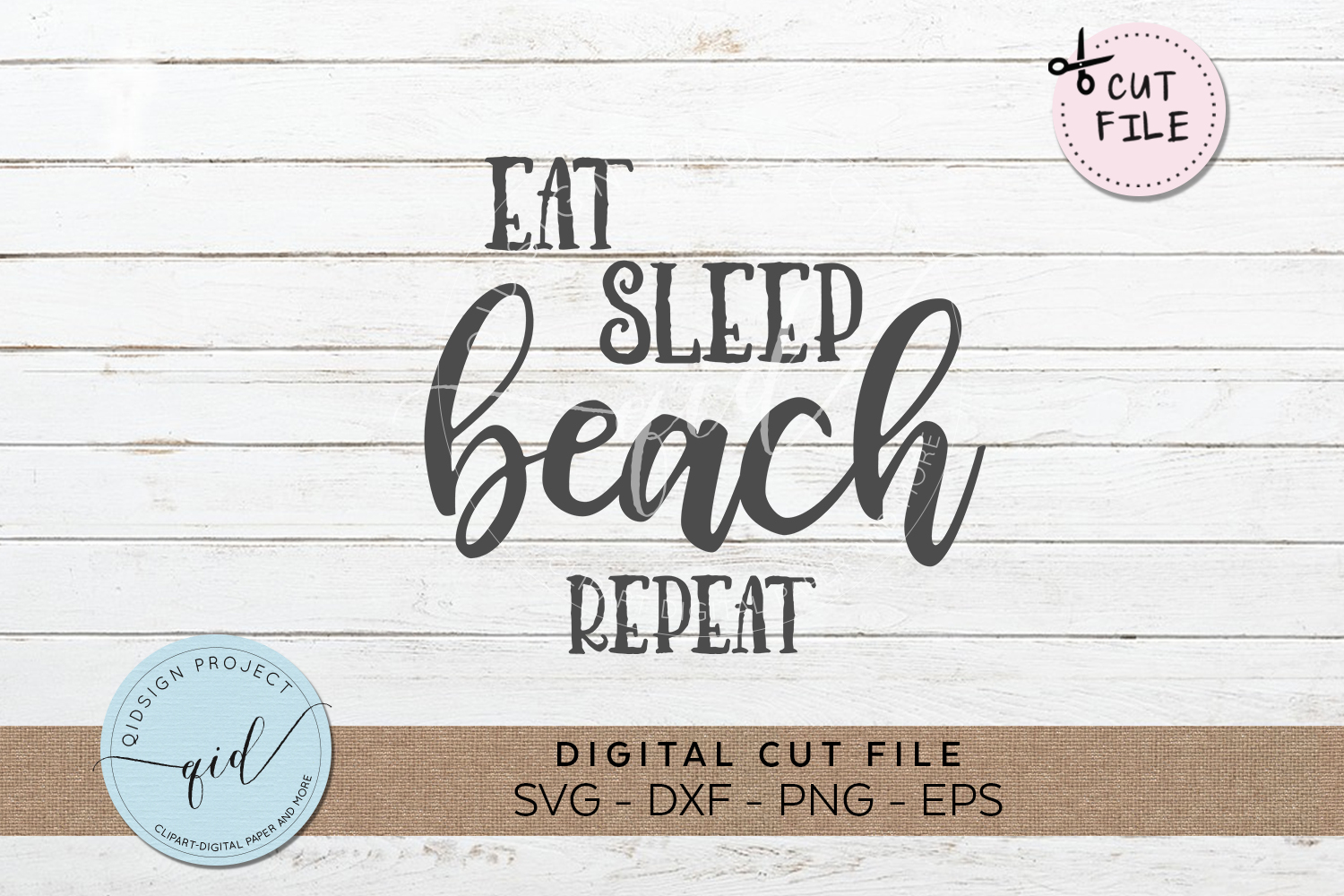 Eat Beach Sleep Repeat SVG DXF PNG EPS example image 1