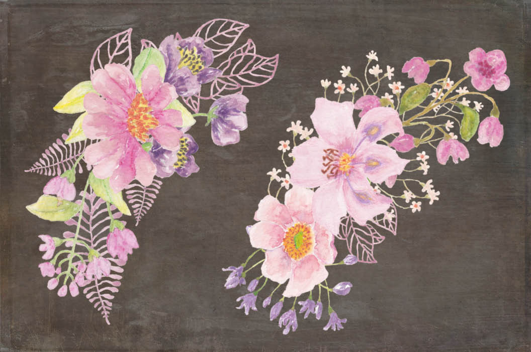 Watercolor wreath of purple and pink flowers example image 3