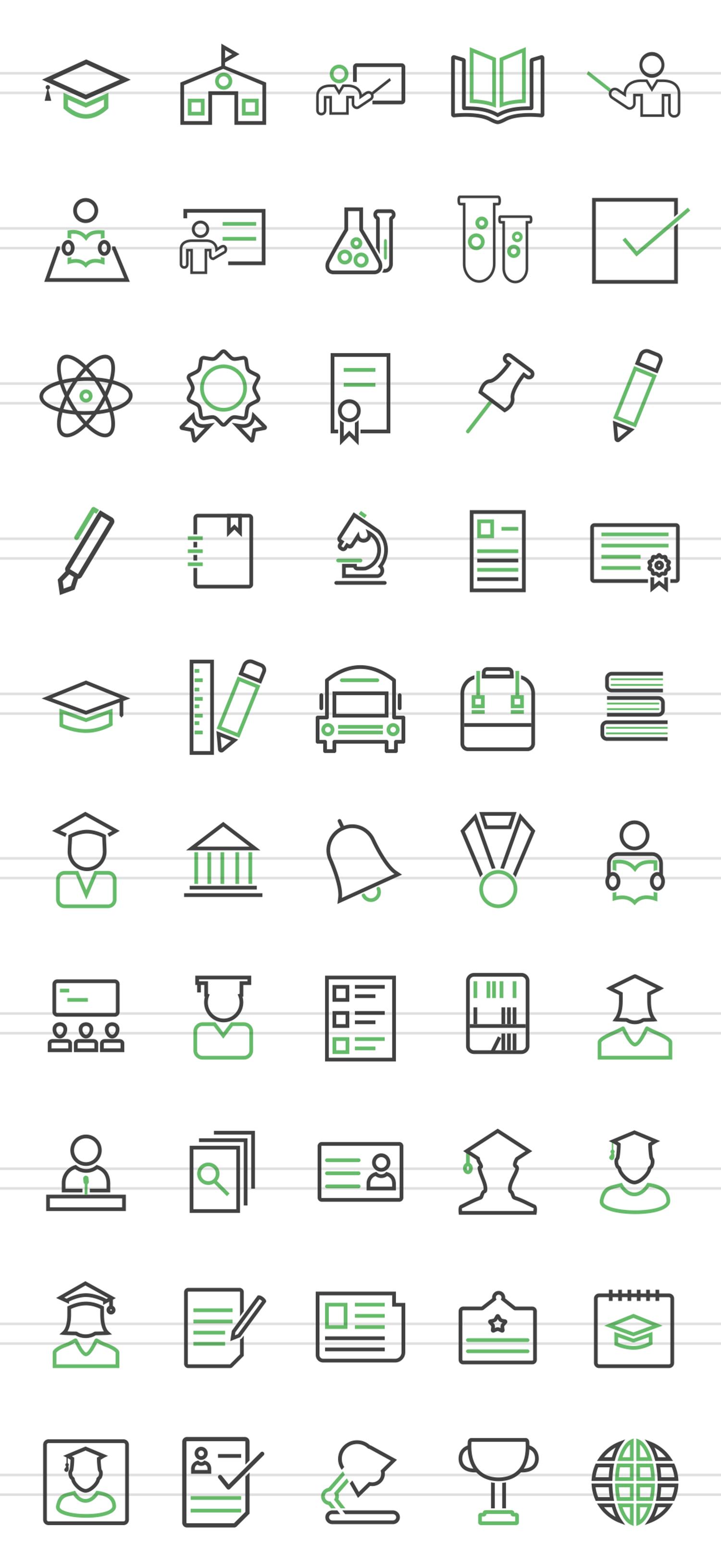 50 Academics Line Green & Black Icons example image 2