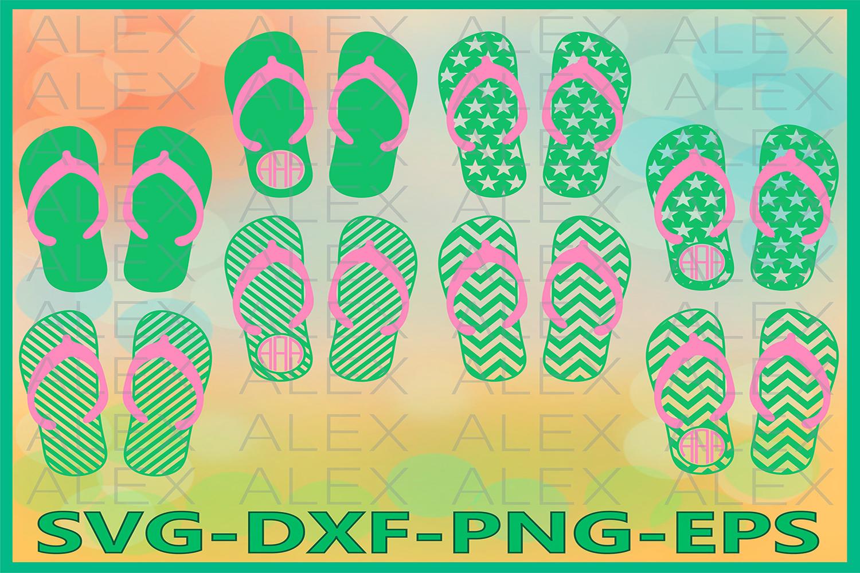 Flip Flop SVG, Flip Flop Monogram SVG, Flip Flop Cricut example image 1
