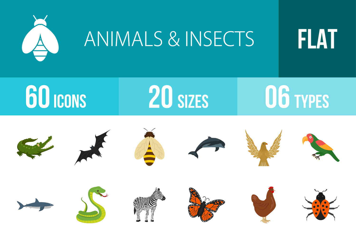 60 Animals & Insects Flat Multicolor Icons example image 1