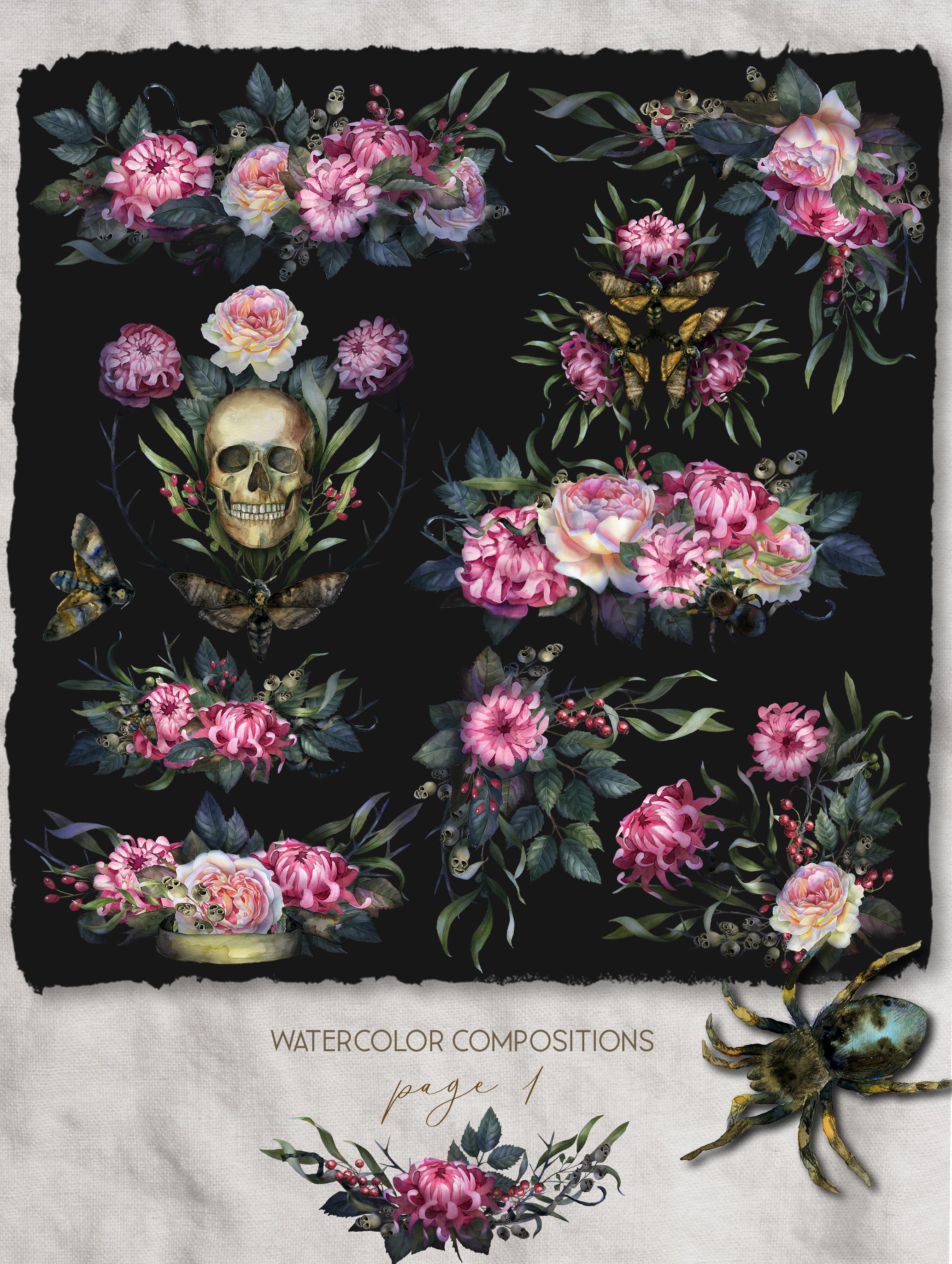 Watercolor Gothic wedding border clipart, dark Halloween example image 2