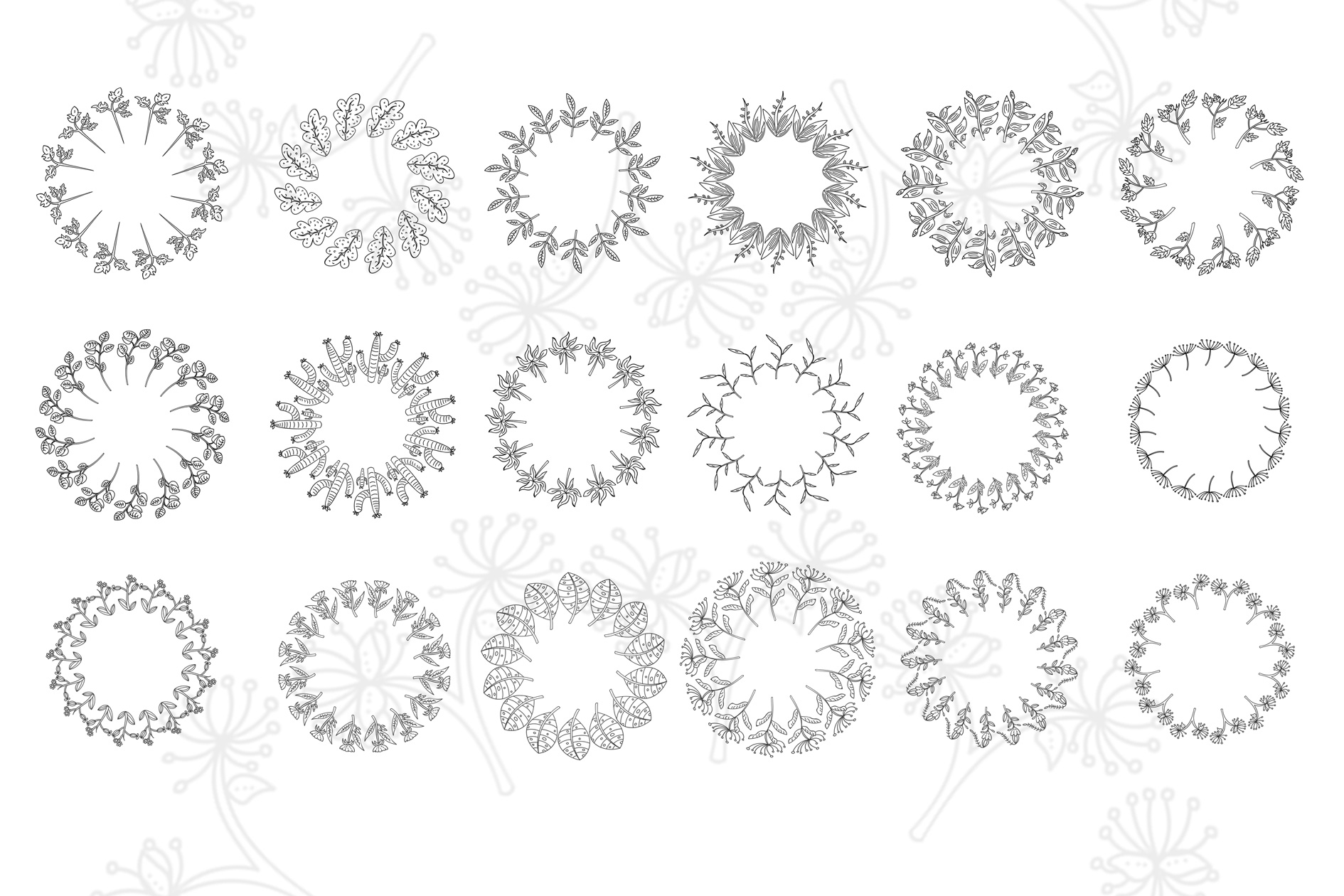 72 Hand Drawn Floral Wreaths example image 5