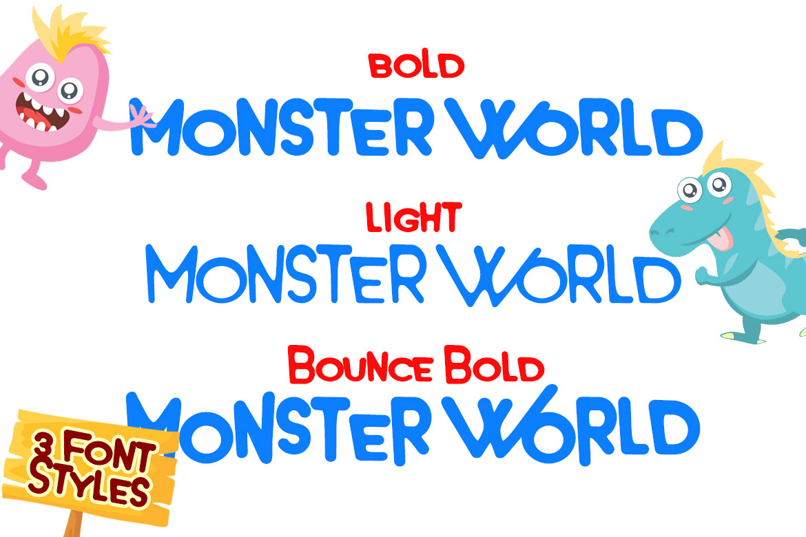 Monster World Font Family & Fun Vector Pack example image 10