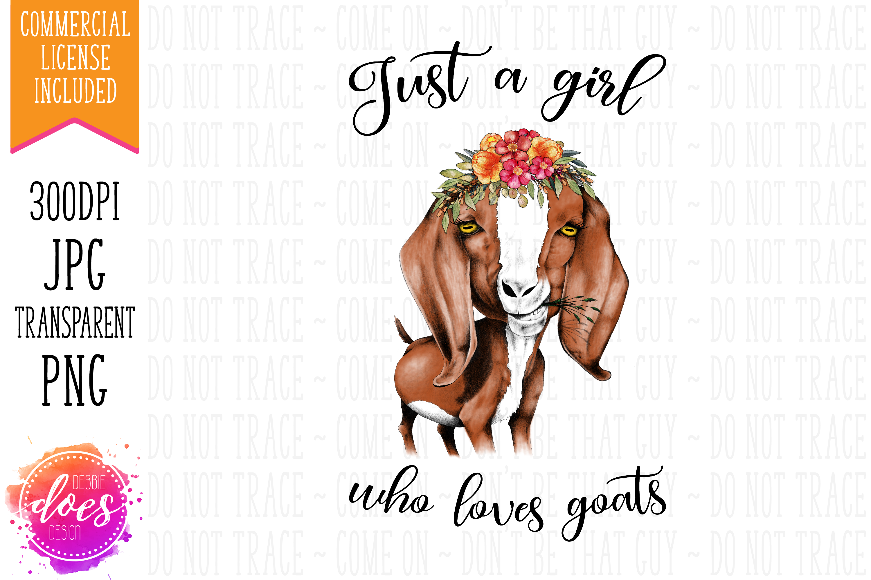 Just a Girl Who Loves Goats - Hand Drawn Printable Design example image 1